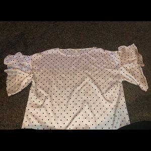 H&M White Polka Dot Blouse size 14